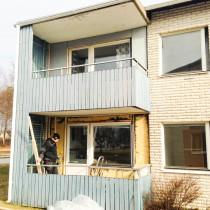 Fönsterbyte pågår, BRF Aspgärdan i Umeå